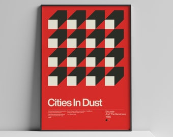 Siouxsie And The Banshees - Cities In Dust - 1985, New Wave song Minimalistic Swiss Graphic Design Poster Art Print