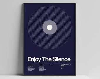 Depeche Mode - Enjoy The Silence - 1990, New Wave song Minimalistic Swiss Graphic Design Poster Art Print
