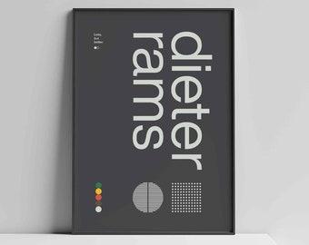 Dieter Rams Helvetica Typographic Poster, Quote, dark grey, Modern Art, Wall Art, Architecture, Industrial Design, Bauhaus Exhibition