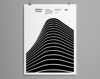 Modern Curves 03, Modern Architecture Design Poster, minimalist interior wall decor, Modern Art, Print, Typographic, Helvetica Neue