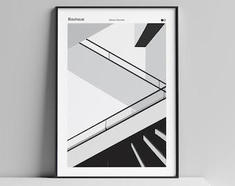 Bauhaus Staircase Poster, Dessau, Bauhaus Print, Walter Gropius, Bauhaus art