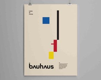 Bauhaus Print, Oskar Schlemmer Bauhaus logo poster, minimal modernism art, Weimar 1923, Bauhaus Exhibition print,