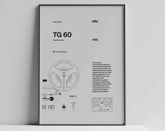 Dieter Rams Braun TG60 Tape Recorder Helvetica Typographic Poster, Quote, grey, Modern Art, Wall Art, Architecture, Industrial Design