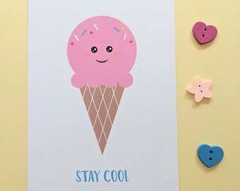 Stay cool ice cream postcard