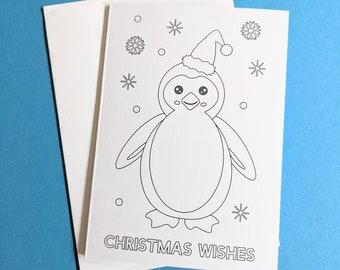 Colour in Christmas Card penguin design
