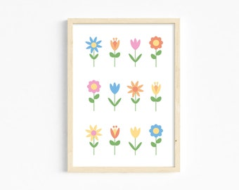 Colourful flowers A4 print