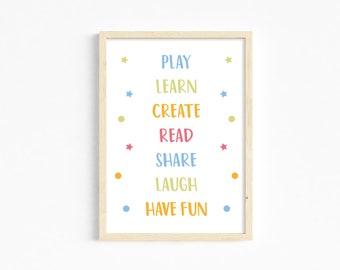 Playroom rules print, colourful playroom print