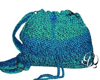 Crochet Bag Gradient Turquoise Handbag Crocheted Handbag Women's Shoulder Bag Summer Bag