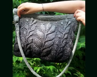 Crochet Bag Floral Pattern Shoulder Bag Black/White Crossbody Cotton Crochet Bag Handbag Handmade Crocheted Evening Bag