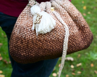 Handbag Gradient Brown/Cream, Handbag Handwork Crochet crocheted Bag