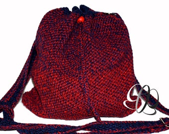 Bucket bag with gradient red/blue, crocheted