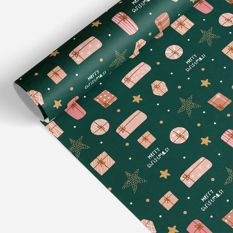 Christmas Wrapping Paper Roll Green Christmas Wrapping Merry Christmas Wrapping Paper Christmas Gift Wrap Luxury Gift Wrap