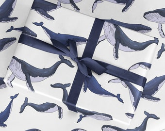 Whales Wrapping Paper - Luxury Gift Wrap - Whales Gift Wrap - Scrapbook Paper - Whales Print