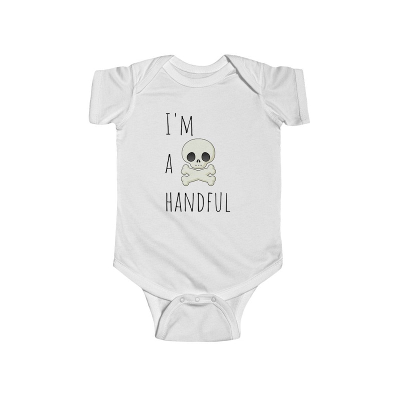 Infant Fine Jersey Onesie I/'m a Handful White or Blue