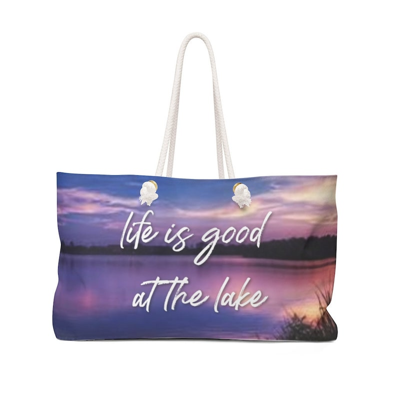 Oversized Weekender and Tote Bag Sunset Scene Life is Good at the Lake