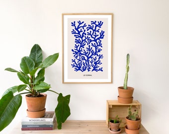 Blue Coral Print / Abstract Print / Sea Print / Matisse Inspired Print / Ocean Print