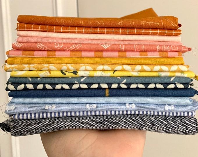 "Curated Fat Quarter Bundle- ""Earl Grey"" 16 Fat Quarters (Art Gallery Fabric, Ruby Star Society, Robert Kaufman, Kona solids)"