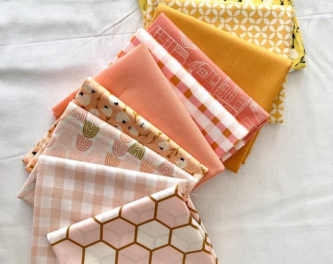 "Curated Fat Quarter Bundle- ""Peaches and custard"" 10 Fat Quarters (Art Gallery Fabric, Ruby Star Society, Robert Kaufman, Kona solids)"