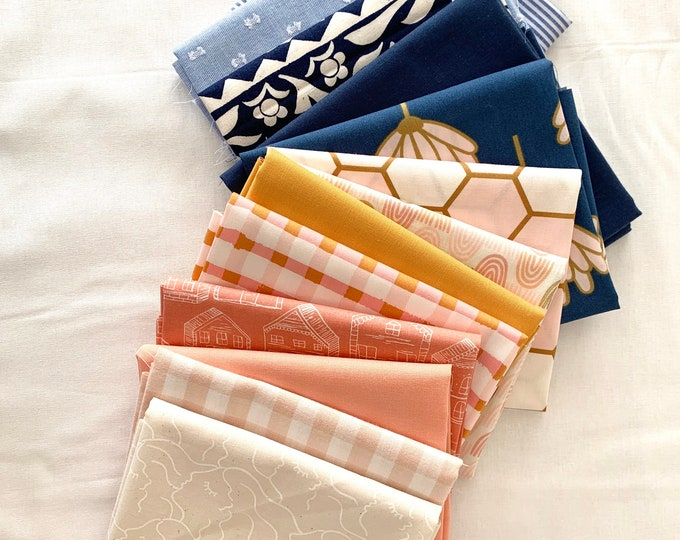 """Curated Fat Quarter Bundle- """"Golden Triangle"""" 13 Fat Quarters (Art Gallery Fabric, Ruby Star Society, Sevenberry, Kona solids)"""