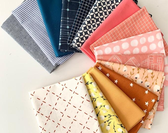"Curated Fat Quarter Bundle- ""Saville Row"" 15 Fat Quarters (Art Gallery Fabric, Ruby Star Society, Moda, Robert Kauffman, Kona solids)"