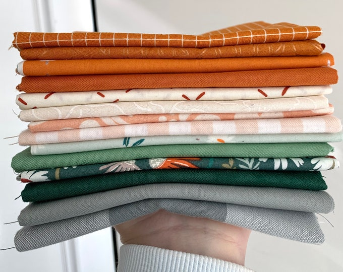 """Curated Fat Quarter Bundle- """"Autumn campsite"""" 14 Fat Quarters (Ruby Star Society, Art Gallery Fabric, Kona solids)"""