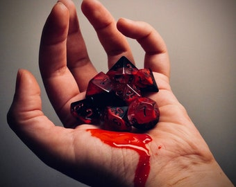 BLOOD RAGE Dice   Handmade 7 Dice Set with Box for DnD, Dungeons and Dragons, Curse Of Strahd, Vampire The Masquerade  Ask for Fast Delivery