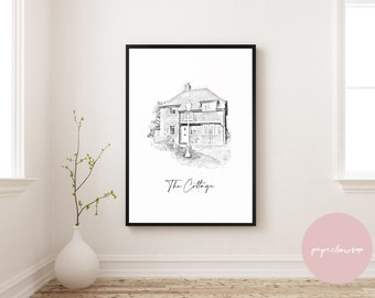 Personalised House Portrait Print   House Warming Gift   Gift   First Home   New Home   Home Print   House Illustration