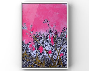 """Poster """"fresh start"""", digital Download DIN A4, branches and pink, printable PDF"""