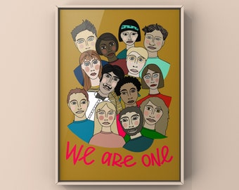 """Poster """"we are one"""", Digital Download, PDF, Din A 4, Illustration of People"""