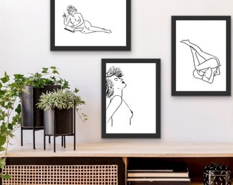 """Set of 5 Posters """"three Nudes"""", DIN A 4 download, minimalistic, scandi, black and white"""