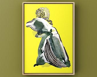 """Poster  """"Crazy Bird with a lot on its mind"""", Freundschaftsposter, verschiedene Farbvarianten, DIN A5,A4 oder A3, handsigniert und nummeriert"""