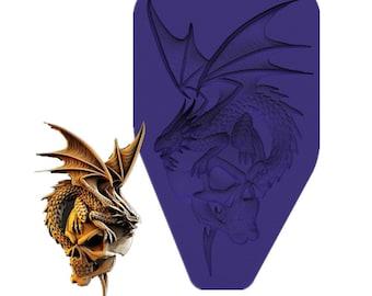 Skull Dragon  silicone mold for resin diy handmade charms dragon  mold crafting mold silicone mold