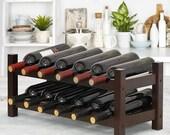 Wine Rack, Bamboo 12 Bottles 2-Tier Wine Display Rack for Countertop Home Kitchen Pantry, Free Standing Wine Storage, Wine Rack (Brown)