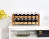 Wine Rack, Bamboo 12 Bottles 2-Tier Wine Display Rack for Countertop Home Kitchen Pantry, Free Standing Wine Storage, Wine Rack (Bamboo)