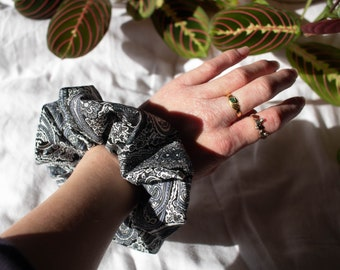 Monochrome, Paisley Print Scrunchie - Black, Grey and White Quality Scrunchie