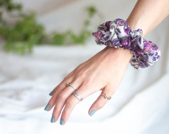 Purple Paisley Print Scrunchie