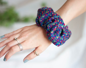 Colourful Smudge Dot Print Scrunchie (Purple, Red, Blue, Yellow, Green)