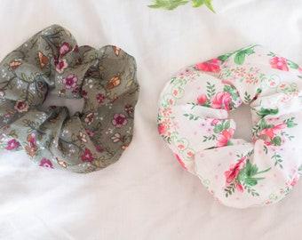 Floral Print Scrunchie - Two Pack - Pink, White & Khaki Green