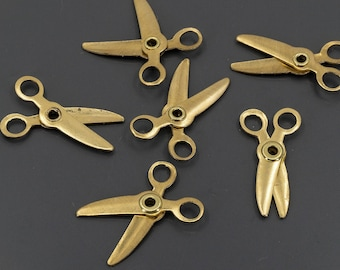 12 small brass scissors charms