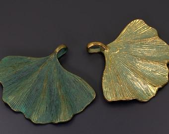 Verdigris Gingko Leaf, Patina Leaf Pendant, Verdigris Leaf Pendant, Jewelry Findings, Patina Gingko Pendant, Jewelry Supplies, 2 Finishes