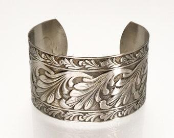 Solid NICKEL Cuff, Nickel Cuff Scroll Design, Lacquered Nickel Cuff Bracelet, Nickel Cuff Bracelet