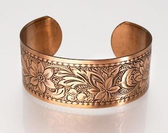 COPPER Bracelet, Solid COPPER Cuff, Copper Cuff Embossed Daisy Design, Copper Cuff Bracelet, Copper Cuff Bracelet, Embossed Copper Cuff