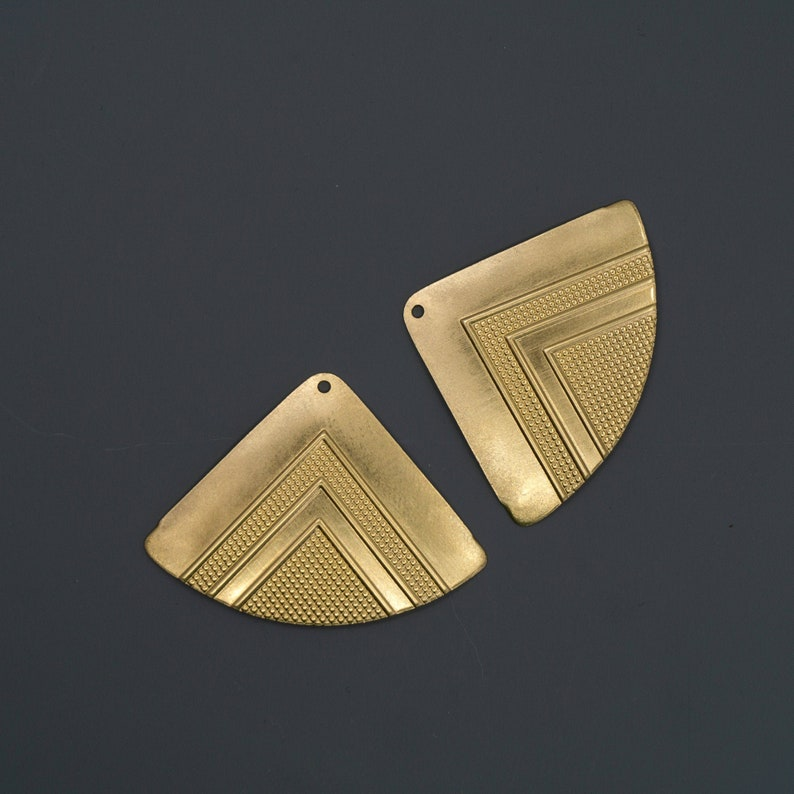 Gold Brass Triangles Vintage Earring Components Jewelry Supplies US Brass Components Jewelry Findings 2 Pieces Art Deco Brass Stampings