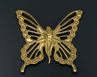 Art Nouveau Fairy Butterfly, LARGE Brass Fairy Butterfly, Butterfly Stamping, Jewelry Findings, Gold Brass Butterfly, Cutout Butterfly