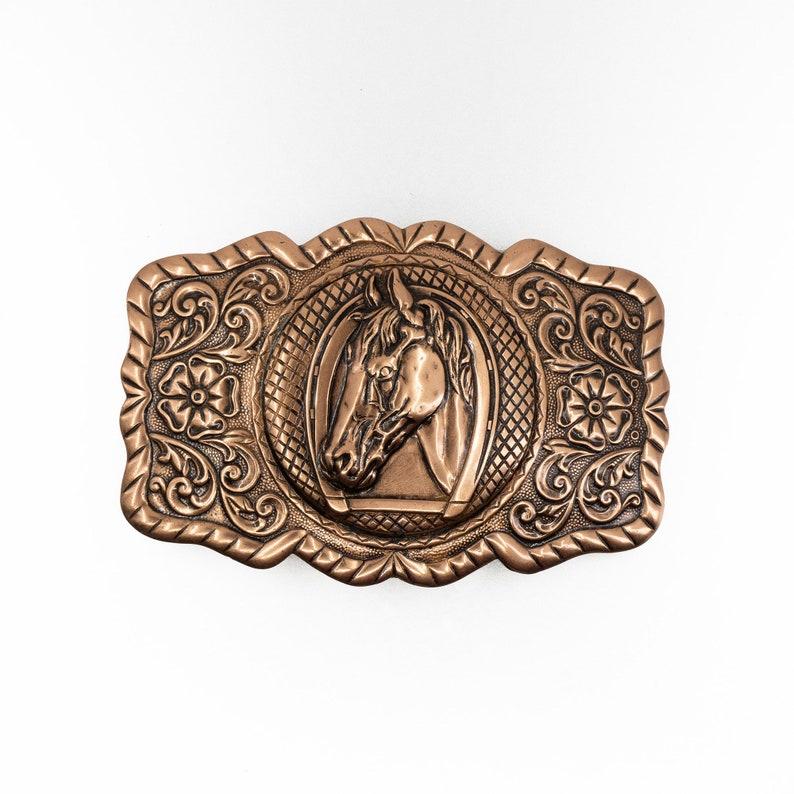 COPPER Belt Buckle Solid Copper HORSEHEAD Belt Buckle Western Belt Buckle Horsehead Fancy Buckle