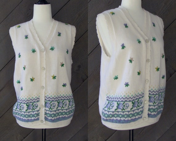 90s Embroidered Sweater Vest, White Floral Fair Is
