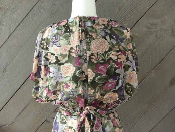 Vintage 80s Floral Chiffon Dress - image 10