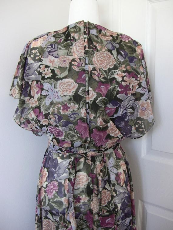 Vintage 80s Floral Chiffon Dress - image 7