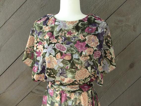 Vintage 80s Floral Chiffon Dress - image 9