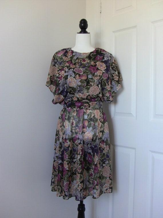 Vintage 80s Floral Chiffon Dress - image 2